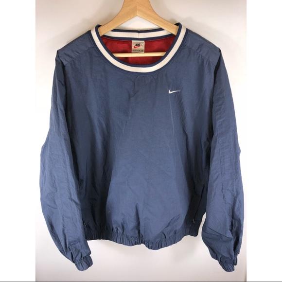 Vintage 90's Mens Nike Crewneck Nylon Navy Blue XL